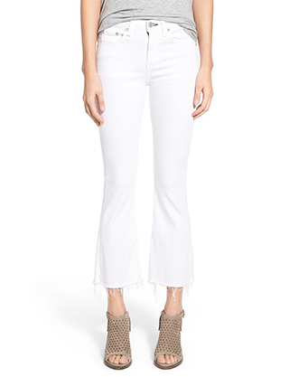 RAG & BONE HIGH RISE RAW HEM CROP FLARE